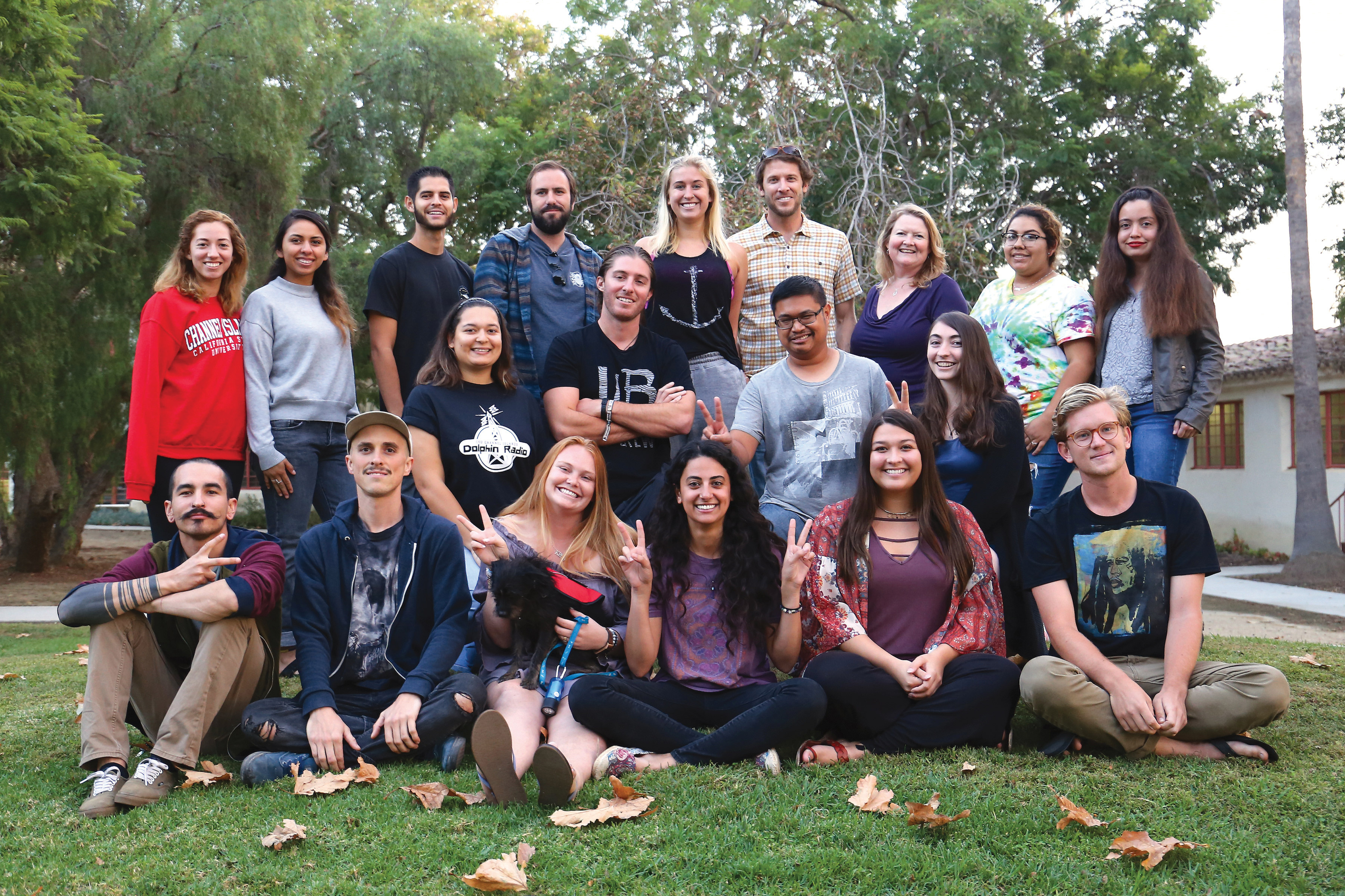 Members of CI's Green Generation club pose for a group photo. Green Generation is dedicated to bringing sustainability and environmental awareness to campus. Photo credit to Carisa Arellano.