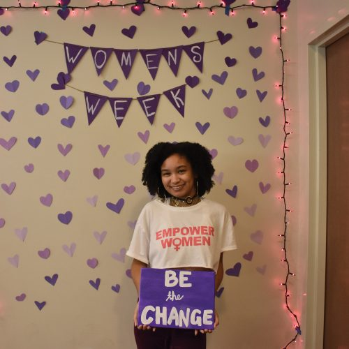 Myah Mays celebrates Women's Empowerment Week. CI's Student Government hosted Women's Empowerment Week to bring awareness of Women's History Month to campus. Photo credit to Cindy Aguilar.