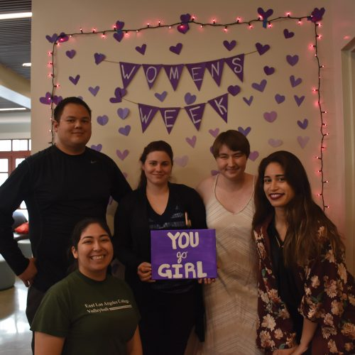 From left to right, Matthew Federis, Brittny Marmolejo, Sarah Krashefski, Phoenix Spoor and Alexis Mumford celebrate Women's Empowerment Week. CI's Student Government hosted Women's Empowerment Week to bring awareness of Women's History Month to campus. Photo credit to Cindy Aguilar.