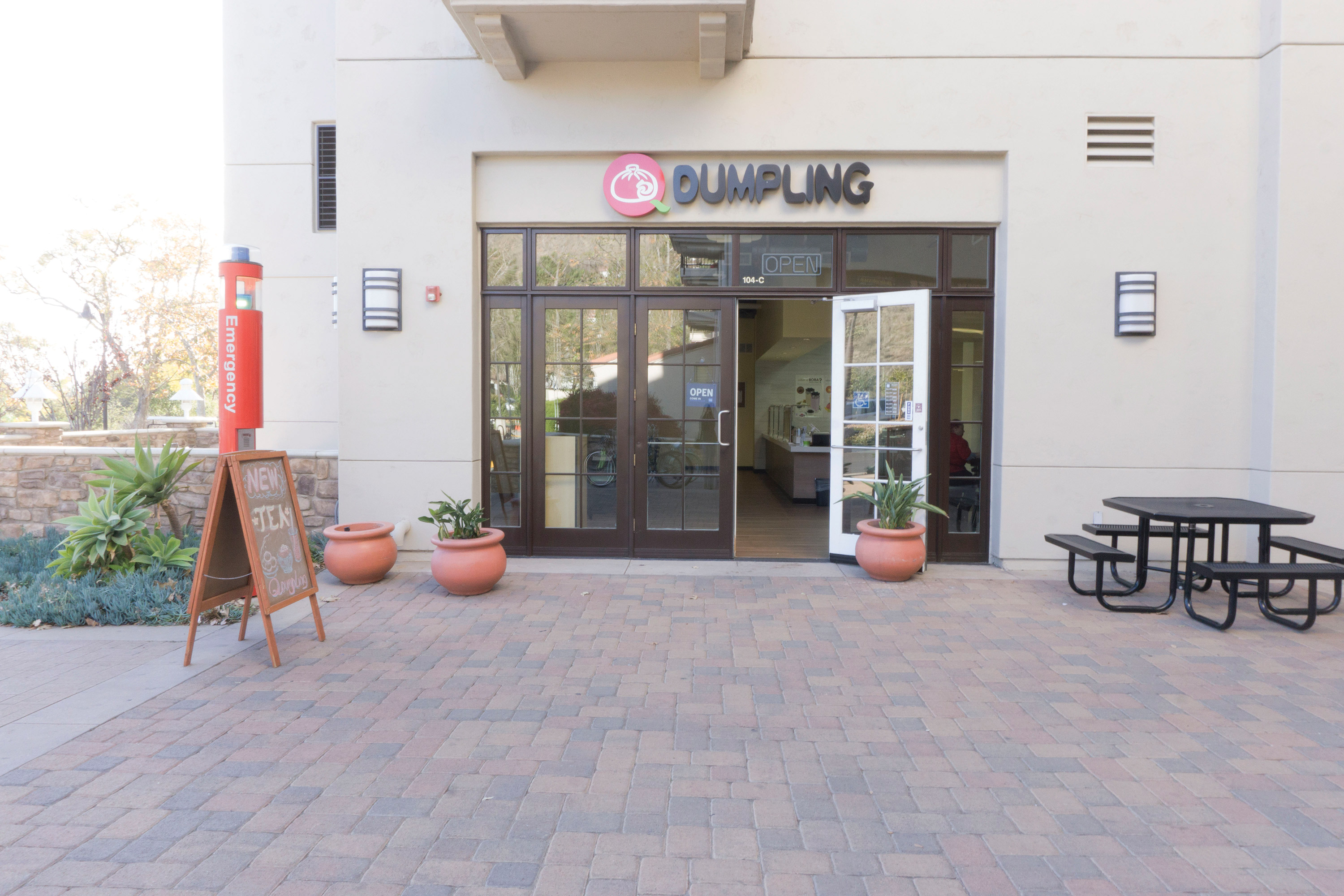 The entrance to Town Center's newest restaurant, Q Dumpling. All food is made to order and includes fresh ingredients. Photo credit to Dennys Rico.