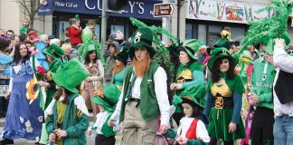 People in Ireland gather together to celebrate St. Patrick's Day. Celebrated internationally on March 17, St. Patrick's Day originated as an Irish holiday before spreading around the world. Photo credit to Ardfern.