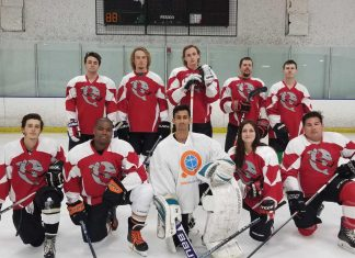 CI's Ice Hockey club poses in front of the goal. The club has recently moved their practices from Oxnard to Simi Valley. Photo Credit to the CI Ice Hockey club.