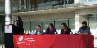 FCI staff and administration sit on a panel to discuss empowered women who empower women in front of the John Spoor Broome Library. This panel was held as a part of Student Government's Women's Empowerment Week. Photo credit to Dennys Rico.