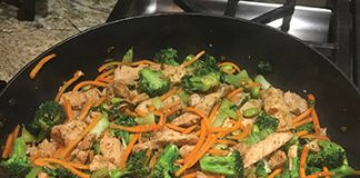 Hot off the stove, this chicken stir-fry was made using the recipe below. Photo credit to Travis Hunt.