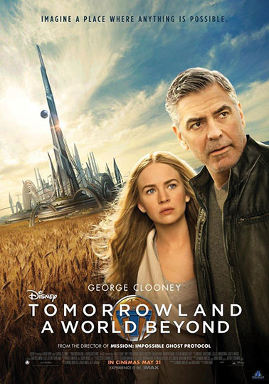 "The official movie poster for ""Tomorrowland."" ""Tomorrowland"" was released in 2015 by Walt Disney Studios. Photo credit to CinemasComics.com."