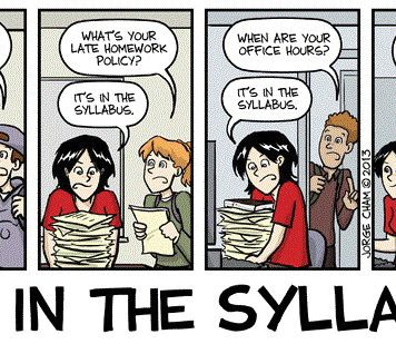 A comic illustrating a professor telling her students to read the syllabus. In their advice to freshmen, seniors said to read the syllabus. Photo credit to JadrianW.