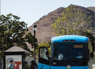 A VCTC bus at CI's bus station. Students can utilize the many forms of local public transportation to travel around the county. Photo credit to ci_police Instagram.