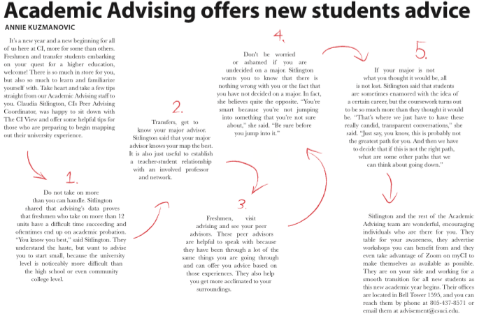 Academic advising offers new students advice
